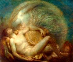 """George Frederic Watts OM RA (1817-1904) """"Endymion"""", 1903 - Watts Gallery, Surrey Questa è l'ultima versione del tema di Endimione, di poco precedente la morte dell'artista. Selene si è fatta più eterea, tanto immateriale che possiamo vedere il cielo attraverso la sua figura. La composizione è simile a quella della versione del 1872, ma l'inquadratura è meno ravvicinata, e i toni sono meno drammatici. La figura di Selene così incorporea e le luminescenze dorate sottolineano la dimensione onirica di questo momento. Se da una parte questa esecuzione è più vicina alla sensibilità e all'arte della fine dell'Ottocento e dei primi del Novecento, dall'altra sembra meno fiduciosa di quella del 1872: i volti sono meno vicini (quello di Semele è addirittura la cosa meno distinguibile della sua figura), e l'insieme è più statico. Semele non è che un sogno, un istante splendido e mistico, sì, ma un sogno."""