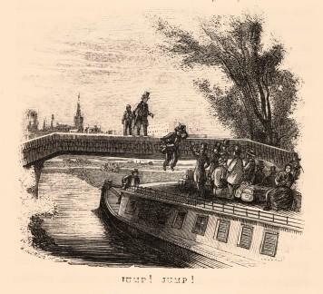 """Jacob Abbott, """"Jump, jump!"""", 1852, Albany Institute of History & Art Library, SpC 917.47_ABB_MAR_1852_Special Collections_439 Le chiatte venivano impiegate anche per il trasporto passeggeri, che venivano sistemati sul tetto dell'imbarcazione. Quando un ponte era particolarmente basso, questi si dovevano chinare. Da qui il verso della canzone """"Low bridge, everybody down"""""""