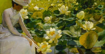 """Charles Courtney Curran (1861-1942) """"Lotus Lilies"""" (particolare), 1888"""