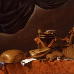 "Evaristo Baschenis (1617-77) ""Strumenti musicali con tendone verde"", 1665-75"
