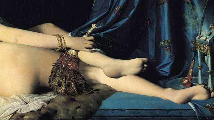 """Jean-Auguste-Dominique Ingres (1780-1867) """"La grande odalisca"""", 1814, particolare """"""""Come son belli i tuoi piedi nei sandali, figlia di principe! Le curve dei tuoi fianchi sono come monili, opera di mani d'artista. Il tuo ombelico è una coppa rotonda che non manca mai di vino drogato. Il tuo ventre è un mucchio di grano, circondato da gigli. I tuoi seni come due cerbiatti, gemelli di gazzella. Il tuo collo come una torre d'avorio; i tuoi occhi sono come i laghetti di Chesbòn, presso la porta di Bat-Rabbìm; il tuo naso come la torre del Libano che fa la guardia verso Damasco. Il tuo capo si erge su di te come il Carmelo e la chioma del tuo capo è come la porpora; un re è stato preso dalle tue trecce». Quanto sei bella e quanto sei graziosa, o amore, figlia di delizie! La tua statura rassomiglia a una palma e i tuoi seni ai grappoli. Ho detto: «Salirò sulla palma, coglierò i grappoli di datteri; mi siano i tuoi seni come grappoli d'uva e il profumo del tuo respiro come di pomi»."""""""
