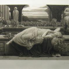 """John D. Miller da Sir Frederic Leighton, """"Summer Slumber"""" Sulla destra, in basso, si può vedere un dettaglio del fregio della fontana che richiama già il lavoro successivo su """"Flaming June""""."""