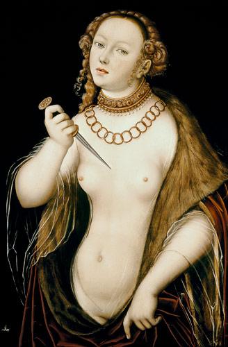 """Lucas Cranach il Vecchio (1472-1533), """"Lucrezia"""" (ca. 1538), Staatsgalerie della Residenza Nuova, Bamberga"""