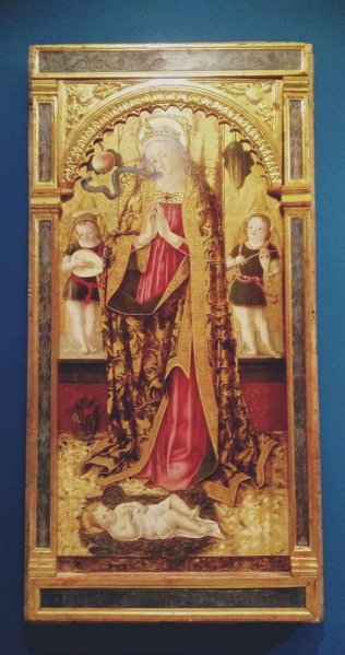 """Vittore Crivelli (ca.1440-1501/2), """"Madonna adorante il bambino"""" (1479)"""