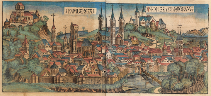 "Xilografia di Bamberga tratta dalla ""Schedel'schen Weltchronik"", le ""Cronache di Norimberga"""